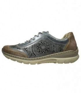 Pantofi sport dama, din piele naturala, marca Rieker, L3206-14-22, albastru