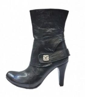 Botine dama, din piele naturala, marca Efetti, 7500-01-125, negru