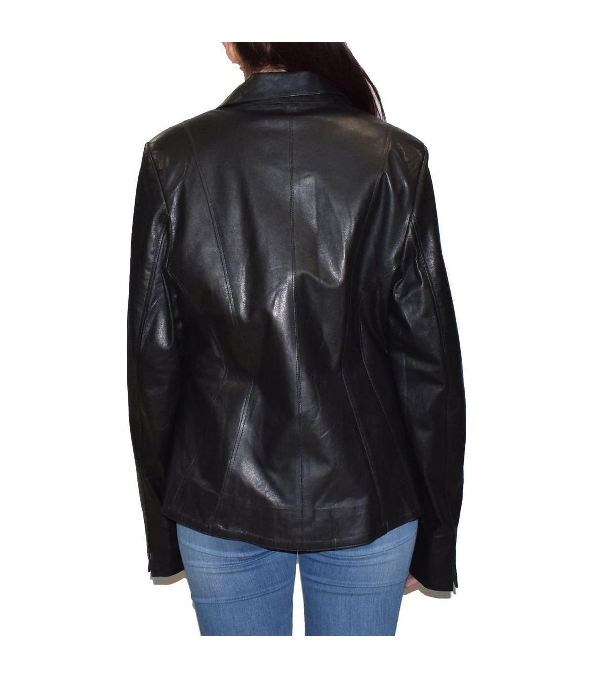 textură bună verifică calitate superioară Sacou de vito- gimali din piele naturala negru 2