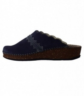 Papuci de casa dama, din piele naturala, marca Walk, 1124-22664-42, bleumarin