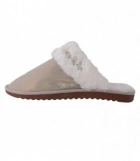 Papuci de casa dama, din piele naturala, marca sOliver, 5-27100-25-M1, nisip