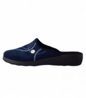 Papuc de casa dama, din piele naturala, marca Inblu, BCA-87-7, albastru