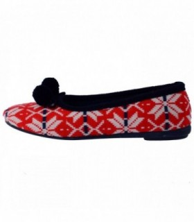 Papuci de casa dama, din textil, marca Gioseppo, 16453-69, alb cu rosu